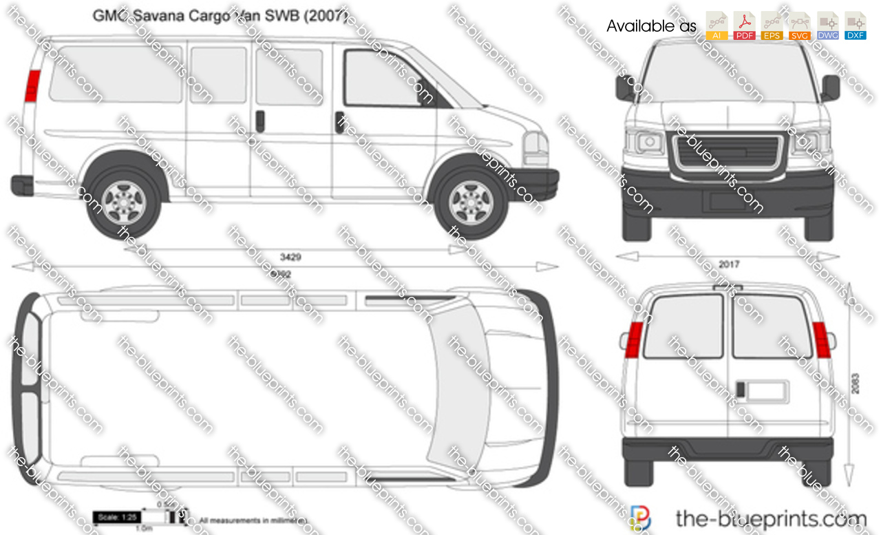 GMC Savana Cargo Van SWB vector drawing