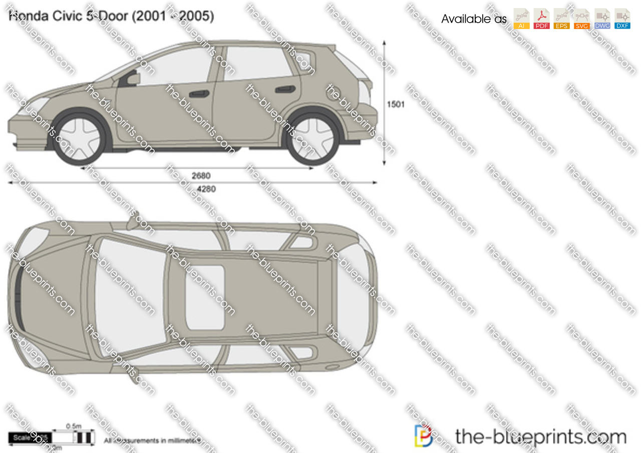 Honda Civic 5 Door Vector Drawing