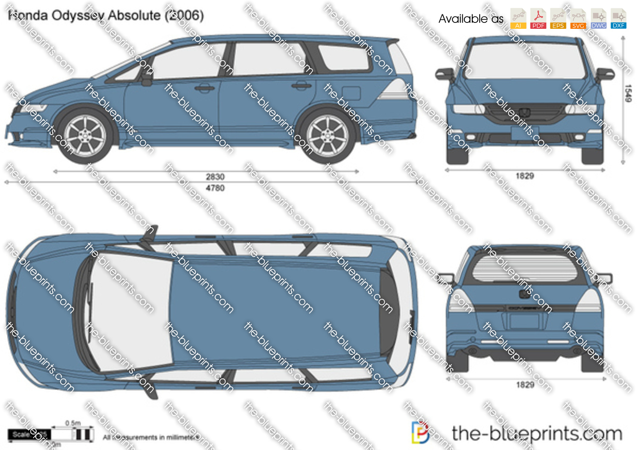 the blueprints     vector drawing   honda odyssey absolute