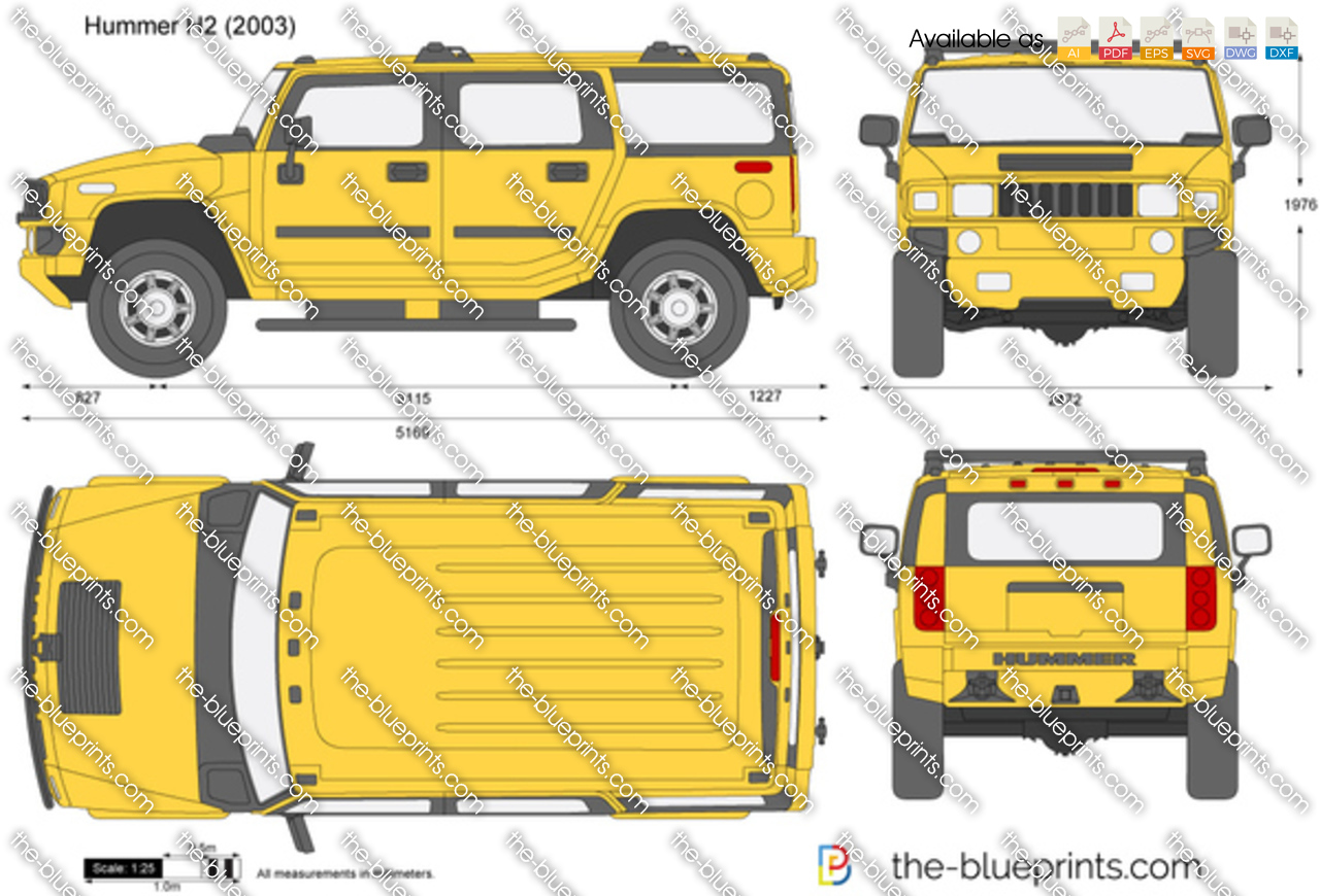 Hummer H2 Vector Drawing