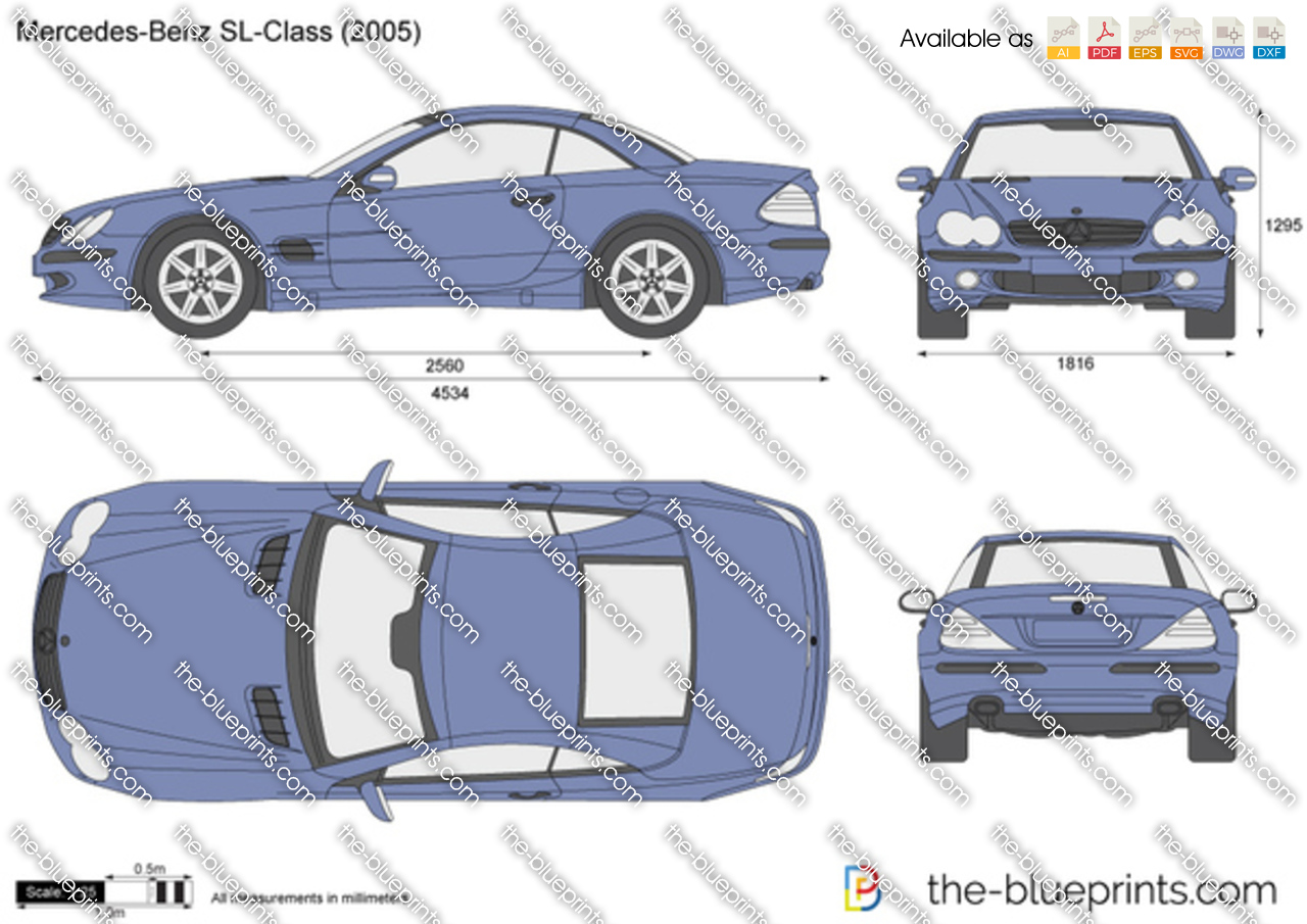 Mercedes Benz Sl Class R230 Vector Drawing