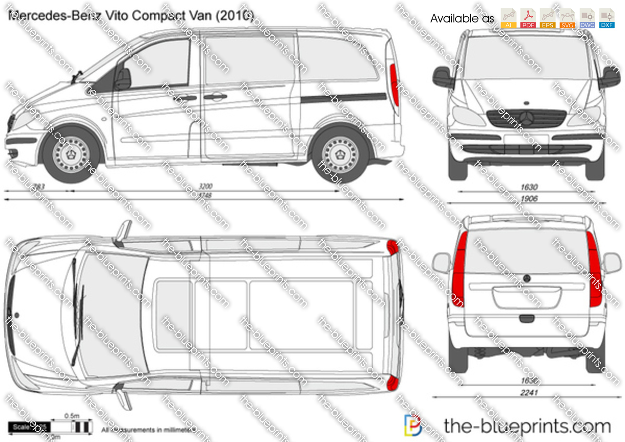 mercedes benz vito compact van vector drawing. Black Bedroom Furniture Sets. Home Design Ideas