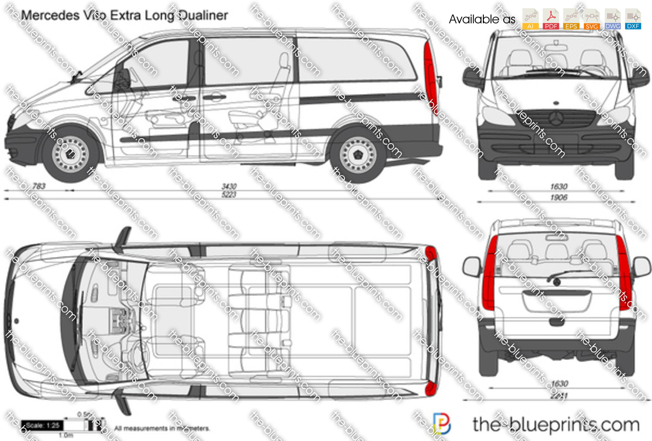 mercedes benz vito extra long dualiner vector drawing. Black Bedroom Furniture Sets. Home Design Ideas