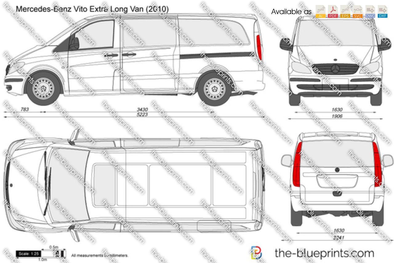 the vector drawing mercedes benz vito extra long van. Black Bedroom Furniture Sets. Home Design Ideas