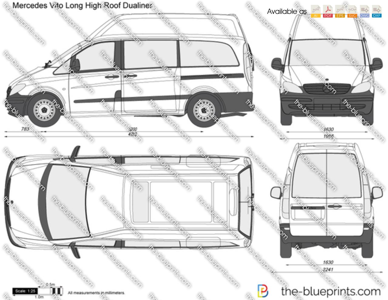 Mercedes Benz Vito Long Hi Roof Dualiner Vector Drawing