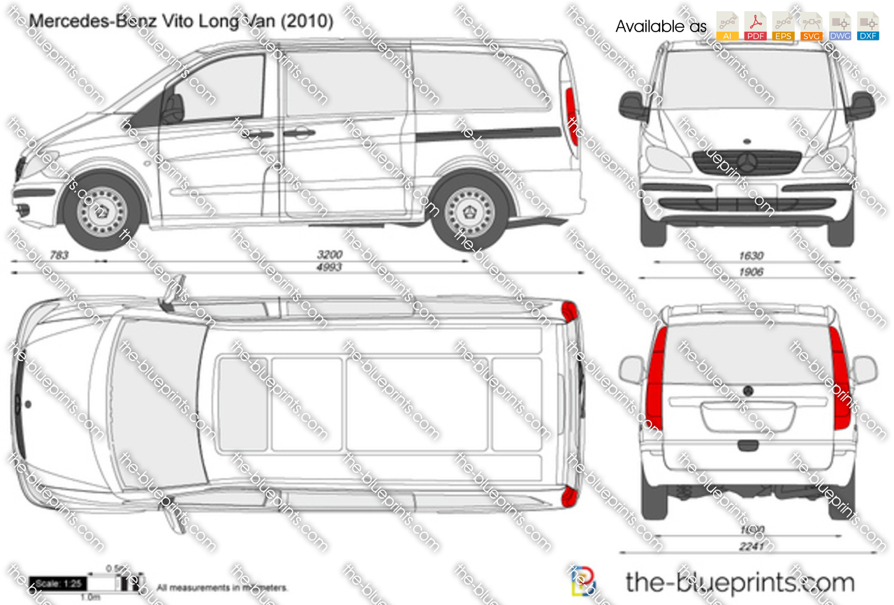 mercedes benz vito long van vector drawing. Black Bedroom Furniture Sets. Home Design Ideas