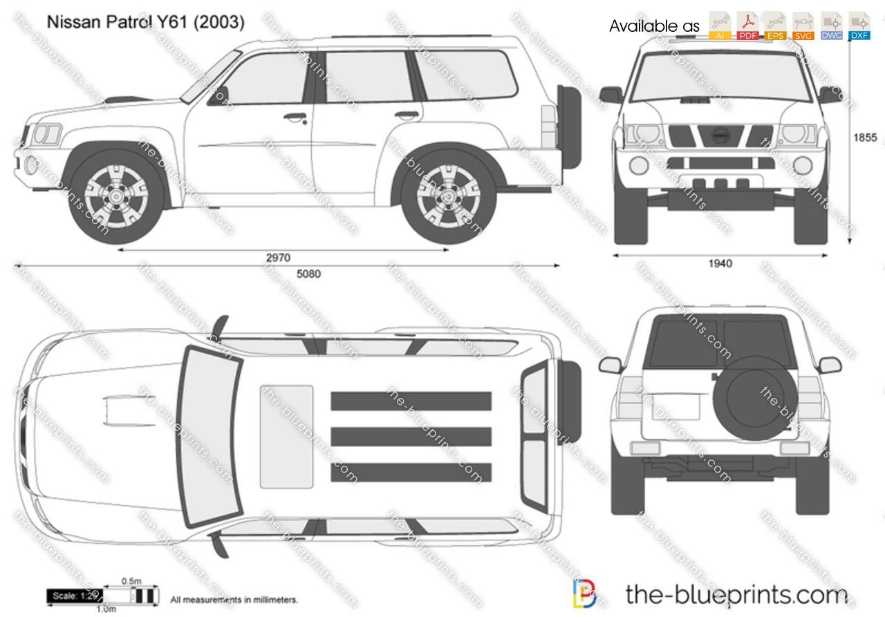 Nissan Patrol Y61 vector drawing