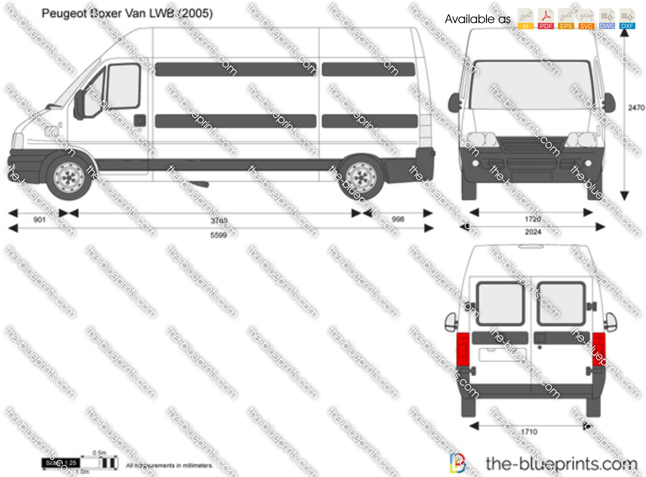 peugeot boxer van lwb vector drawing. Black Bedroom Furniture Sets. Home Design Ideas