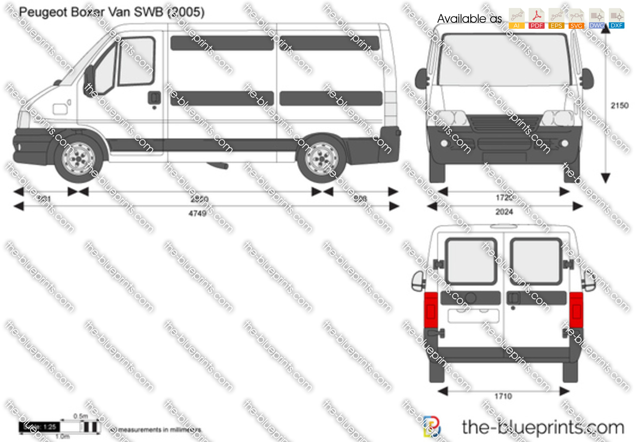 The-Blueprints.com - Vector Drawing - Peugeot Boxer Van SWB