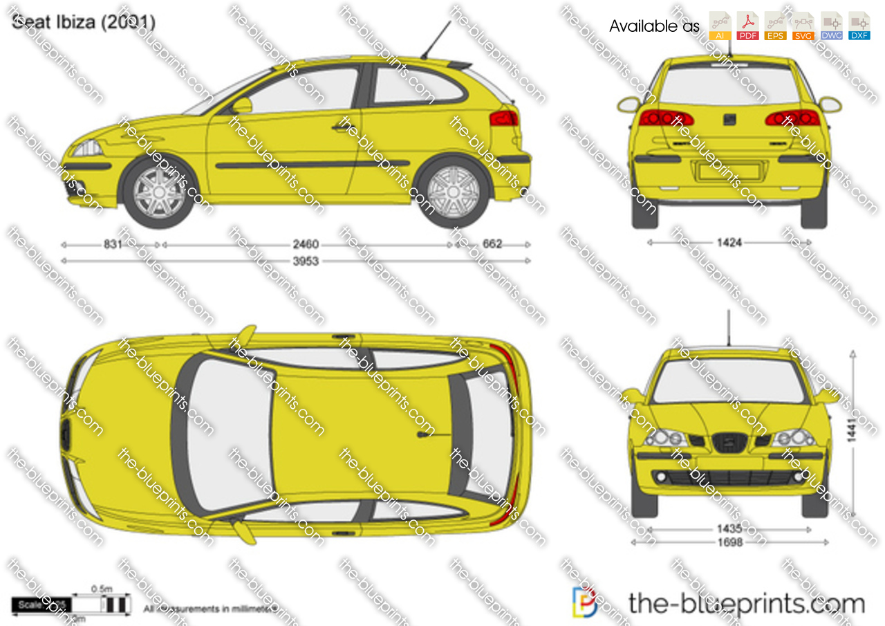 The vector drawing seat ibiza - Dimensiones seat ...