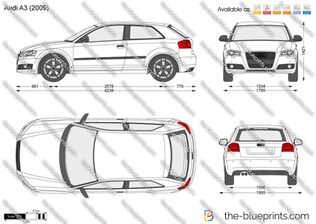 the vector drawing audi a3. Black Bedroom Furniture Sets. Home Design Ideas