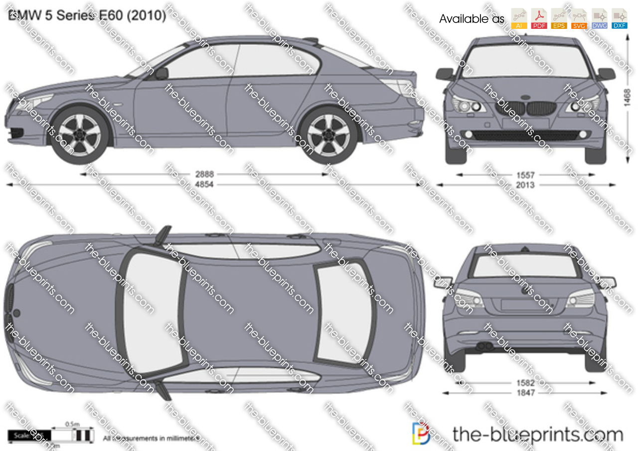 Bmw 5 Series Sedan E60 Vector Drawing