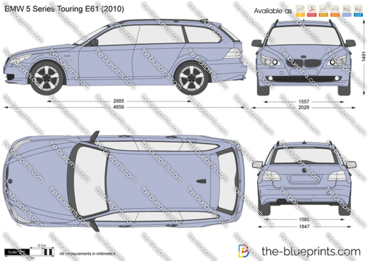 BMW 5-Series Touring E61 vector drawing