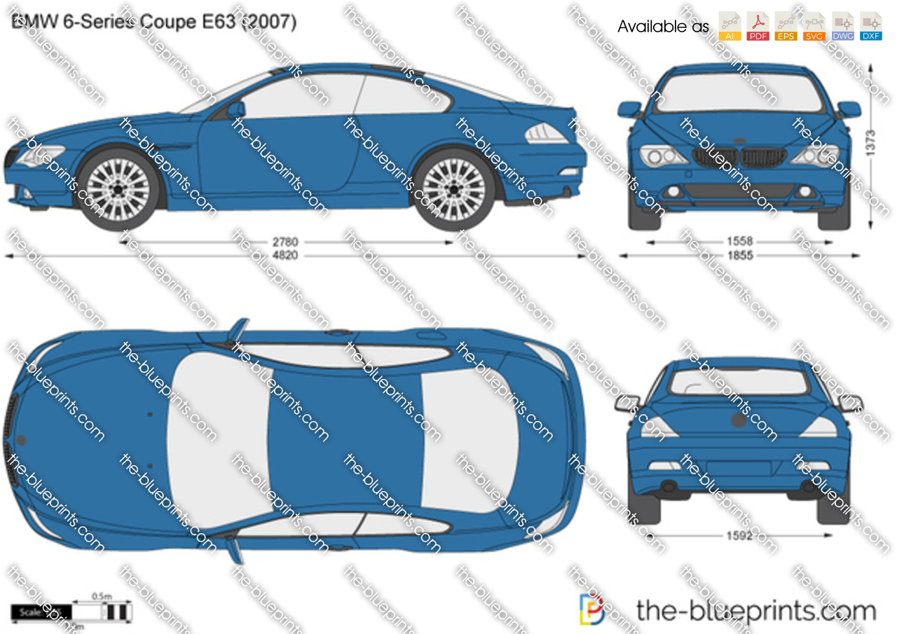 Bmw 6 Series Coupe E63 Vector Drawing