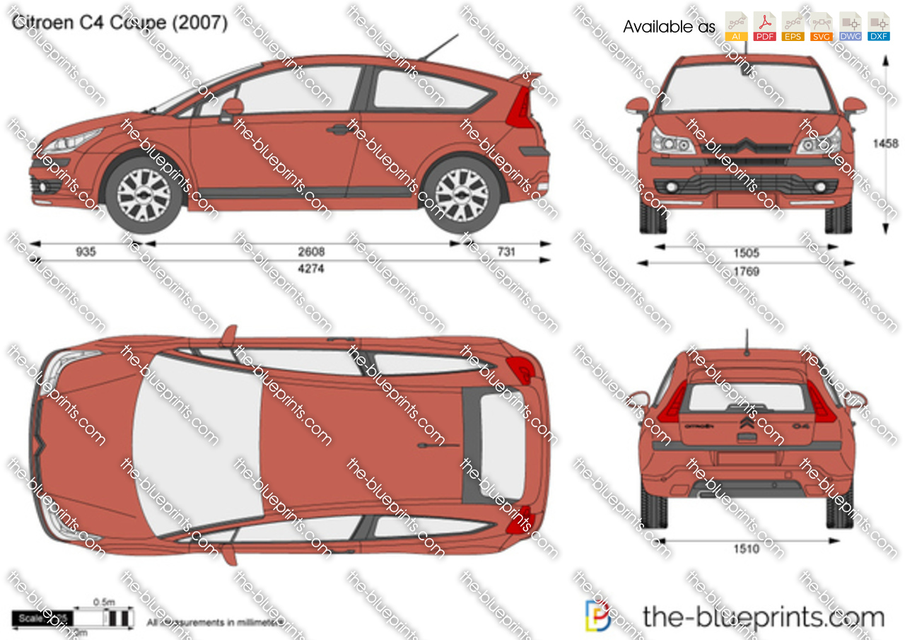 Citroen C4 Coupe Vector Drawing