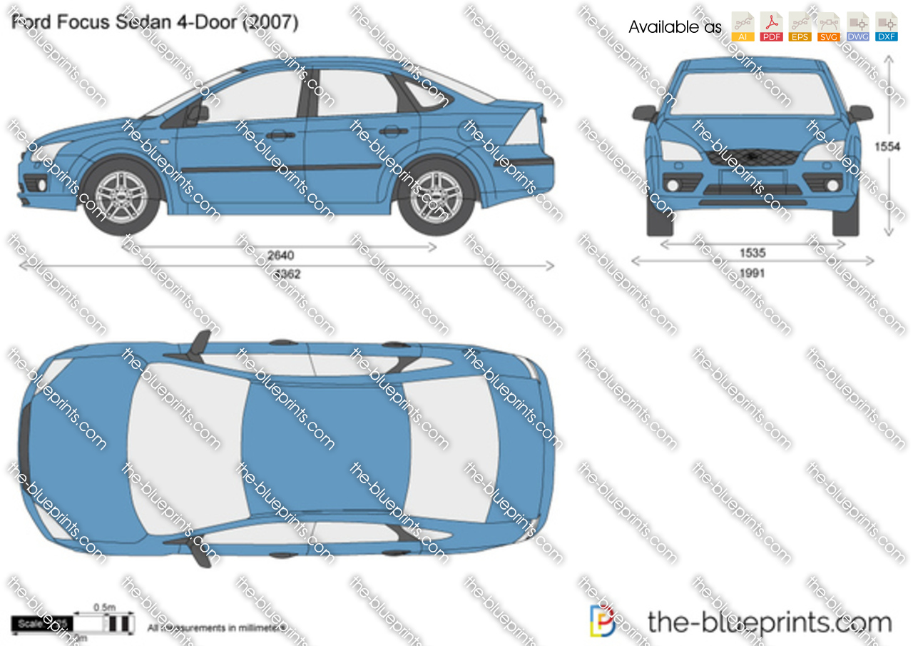 Ford Focus Sedan 4 Door Vector Drawing
