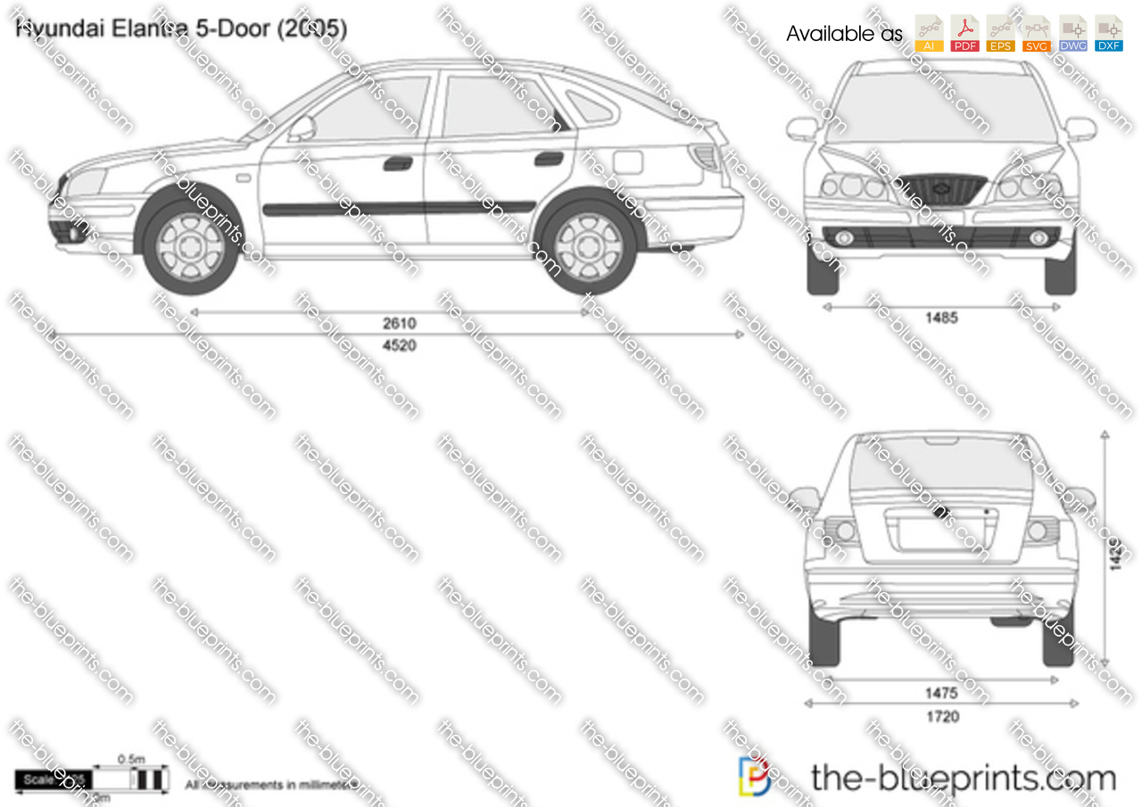 Hyundai Elantra 5 Door Vector Drawing