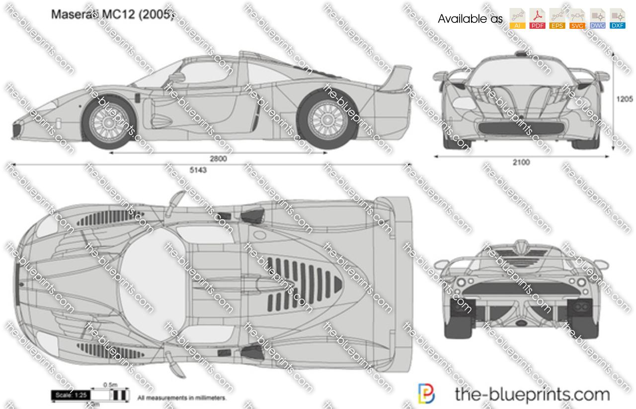 Maserati Mc12 Vector Drawing