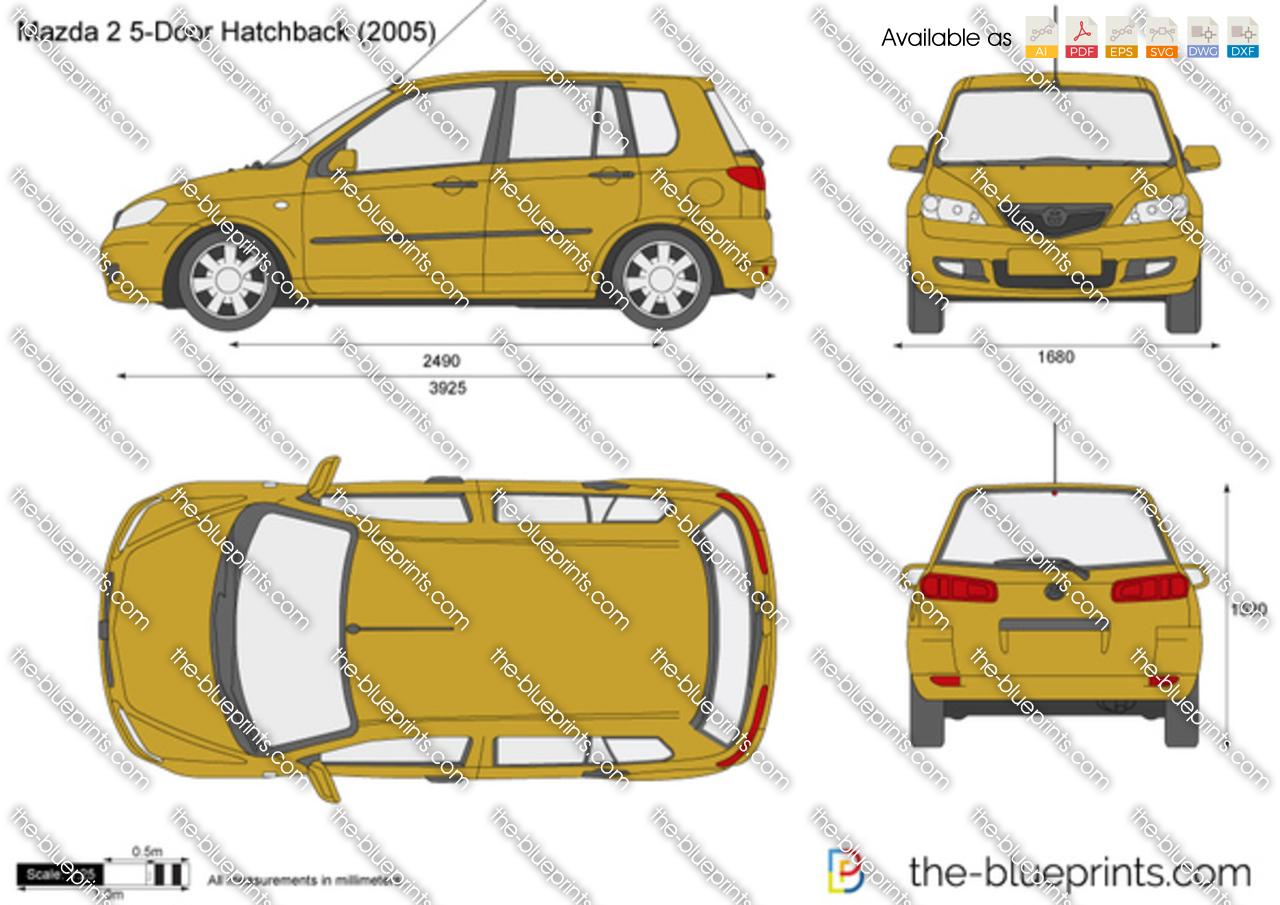 mazda 2 5 door hatchback vector drawing. Black Bedroom Furniture Sets. Home Design Ideas