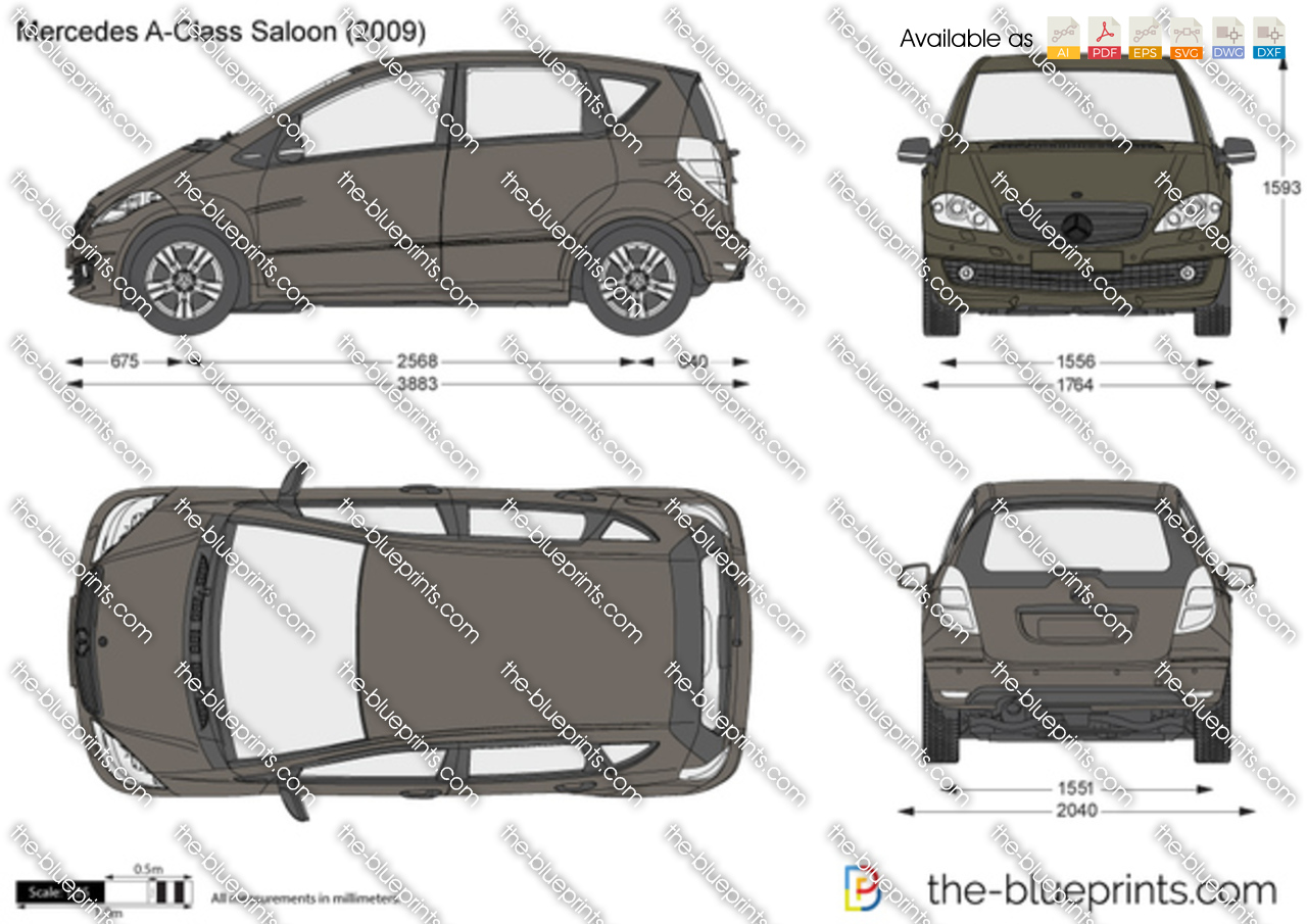 mercedes benz a class 5 door w169 vector drawing. Black Bedroom Furniture Sets. Home Design Ideas