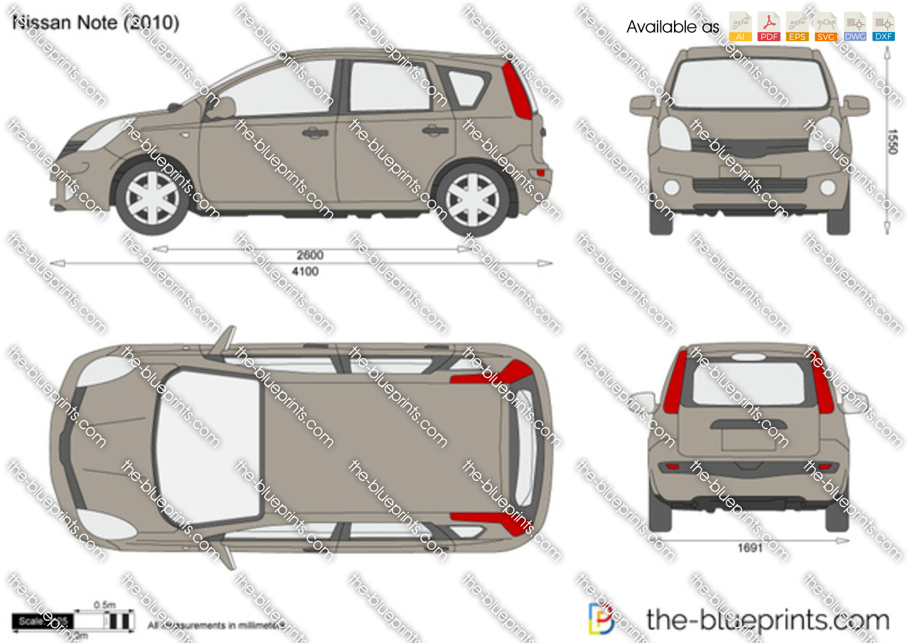 Nissan Note Vector Drawing
