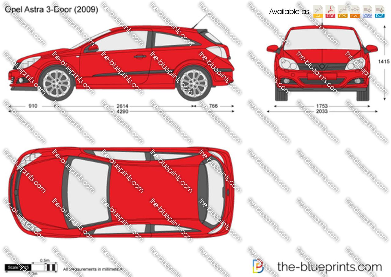 Opel Astra H 3-Door ...  sc 1 st  The Blueprints & Opel Astra H 3-Door vector drawing