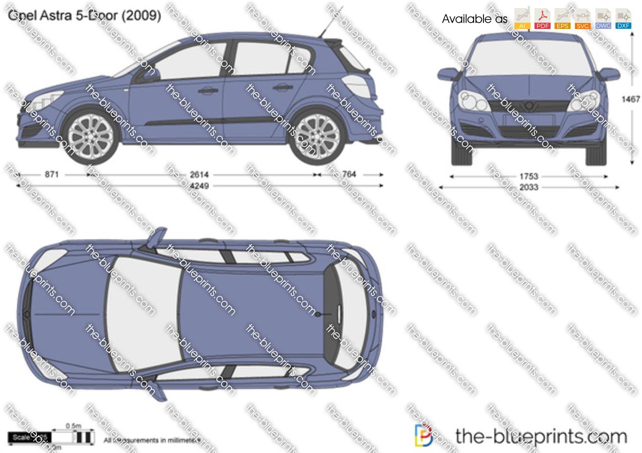 Opel Astra H 5-Door ...  sc 1 st  The-Blueprints.com & The-Blueprints.com - Vector Drawing - Opel Astra H 5-Door pezcame.com