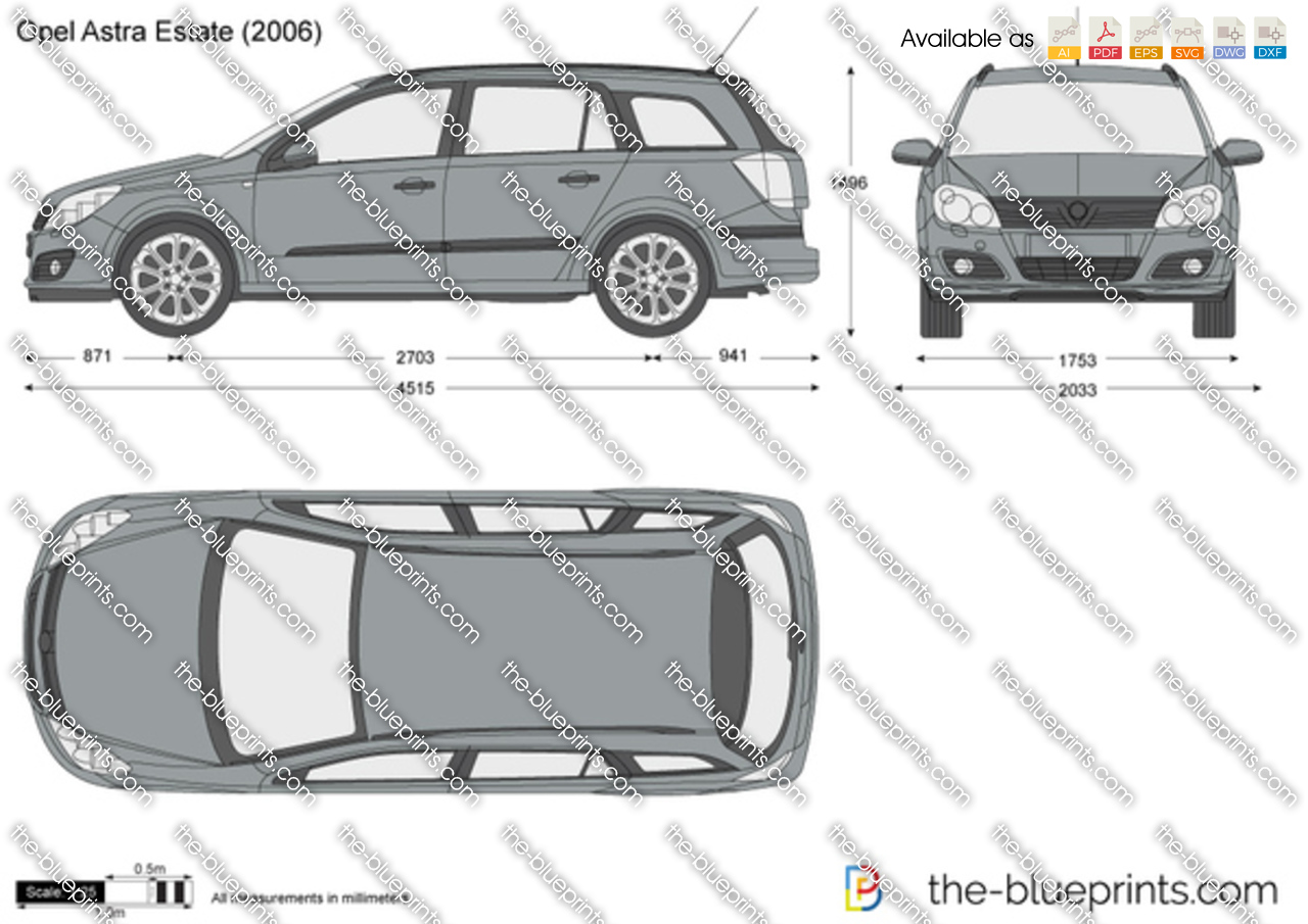 Opel Astra H Estate Vector Drawing
