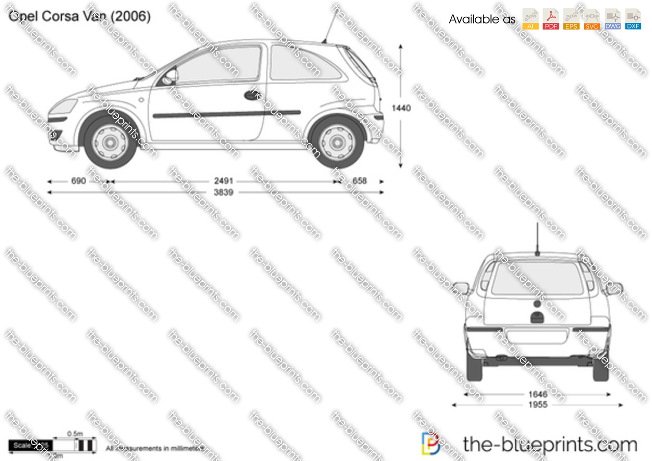 opel corsa c van vector drawing
