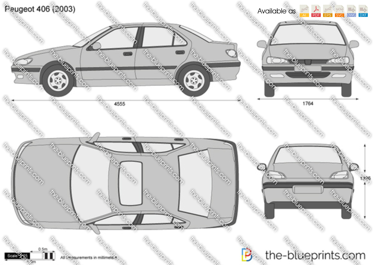 Peugeot 406 Vector Drawing