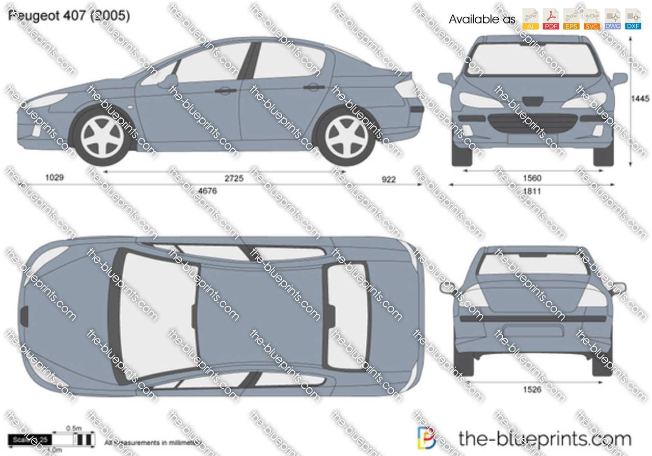 peugeot 407 vector drawing. Black Bedroom Furniture Sets. Home Design Ideas