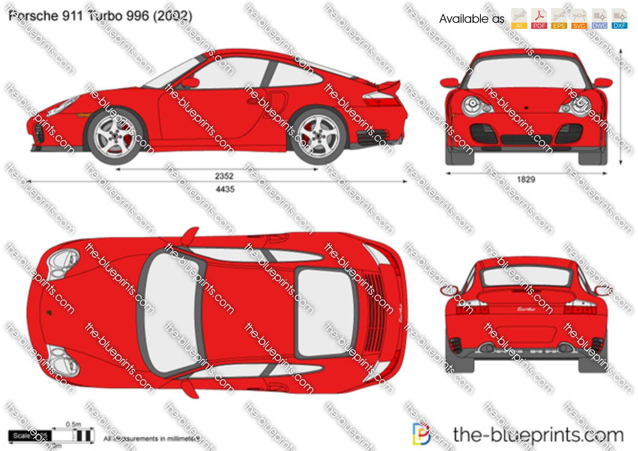 Porsche 911 Turbo 996 Vector Drawing