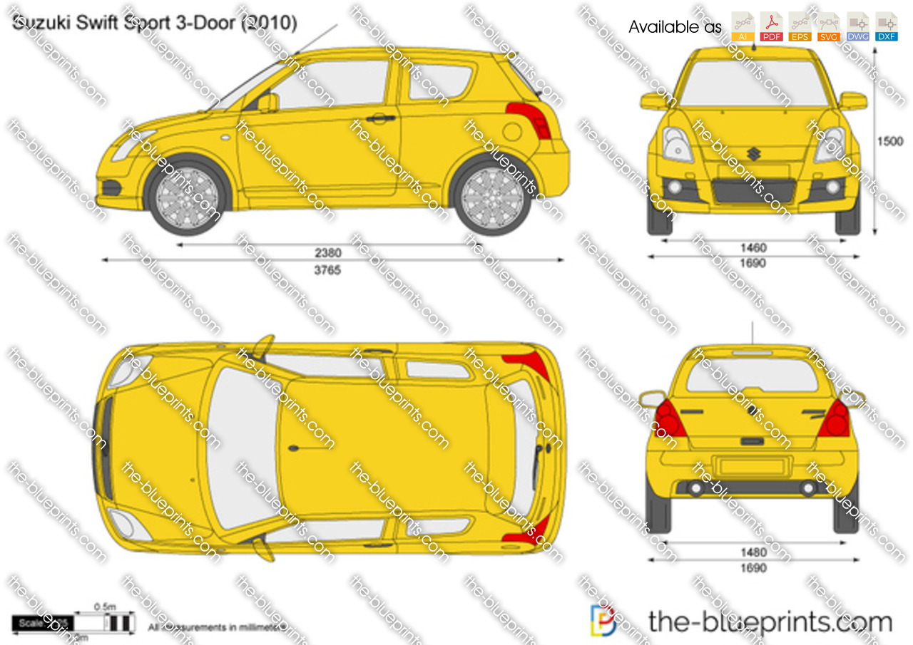 Suzuki Swift Sport 3 Door Vector Drawing