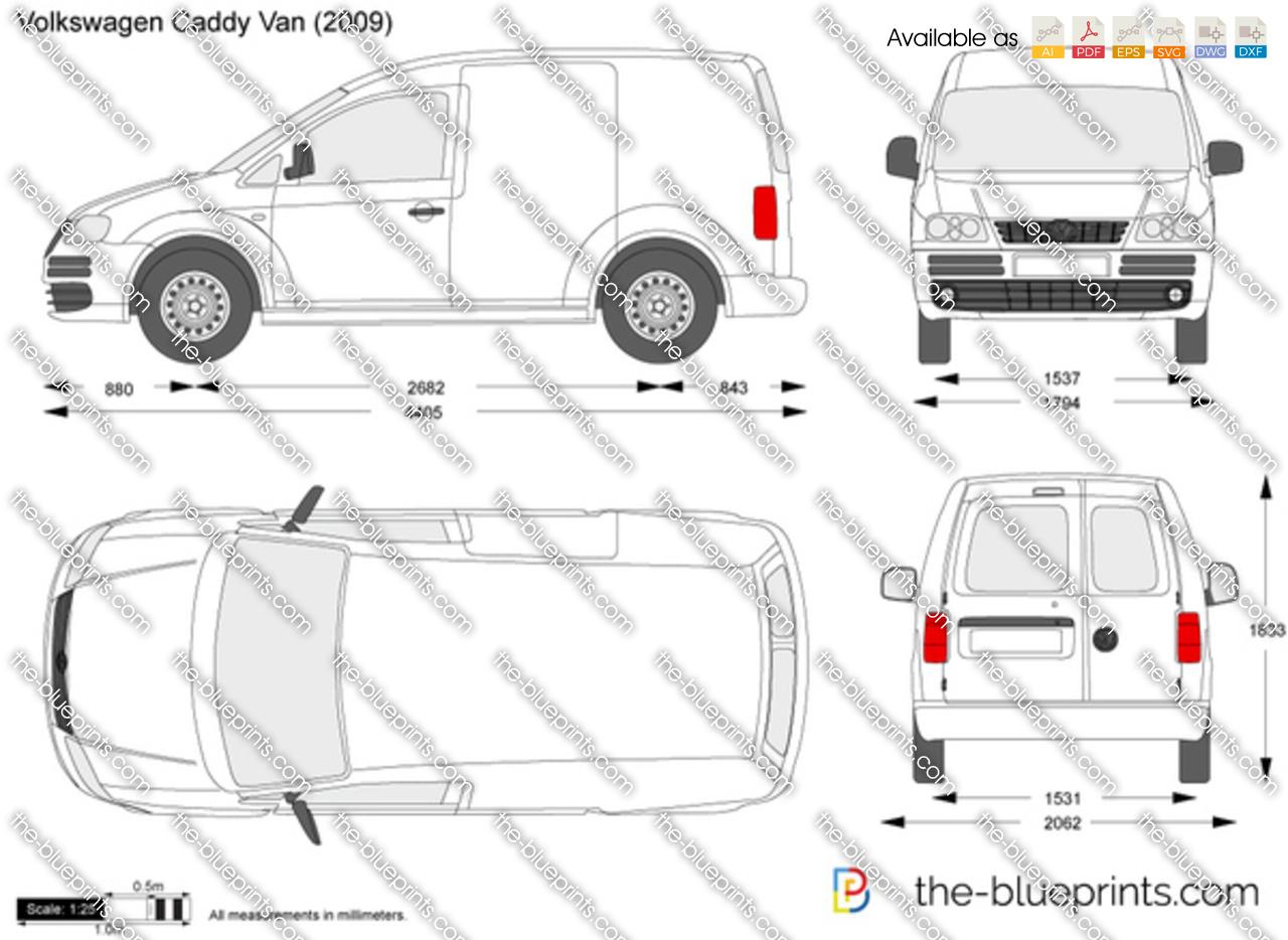 Volkswagen Caddy Panel Van Vector Drawing