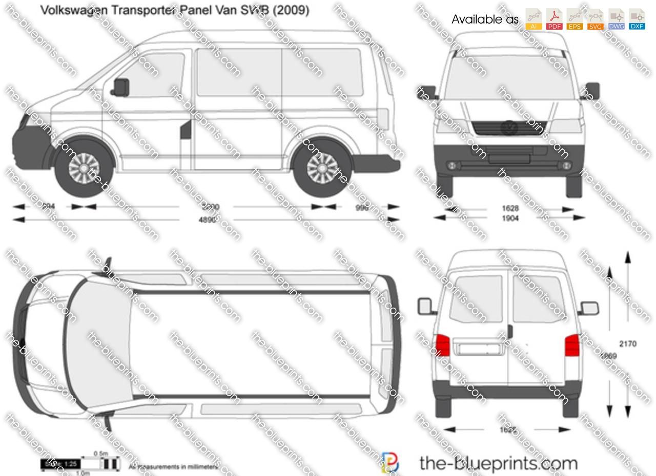 volkswagen transporter t5 panel van swb vector drawing. Black Bedroom Furniture Sets. Home Design Ideas