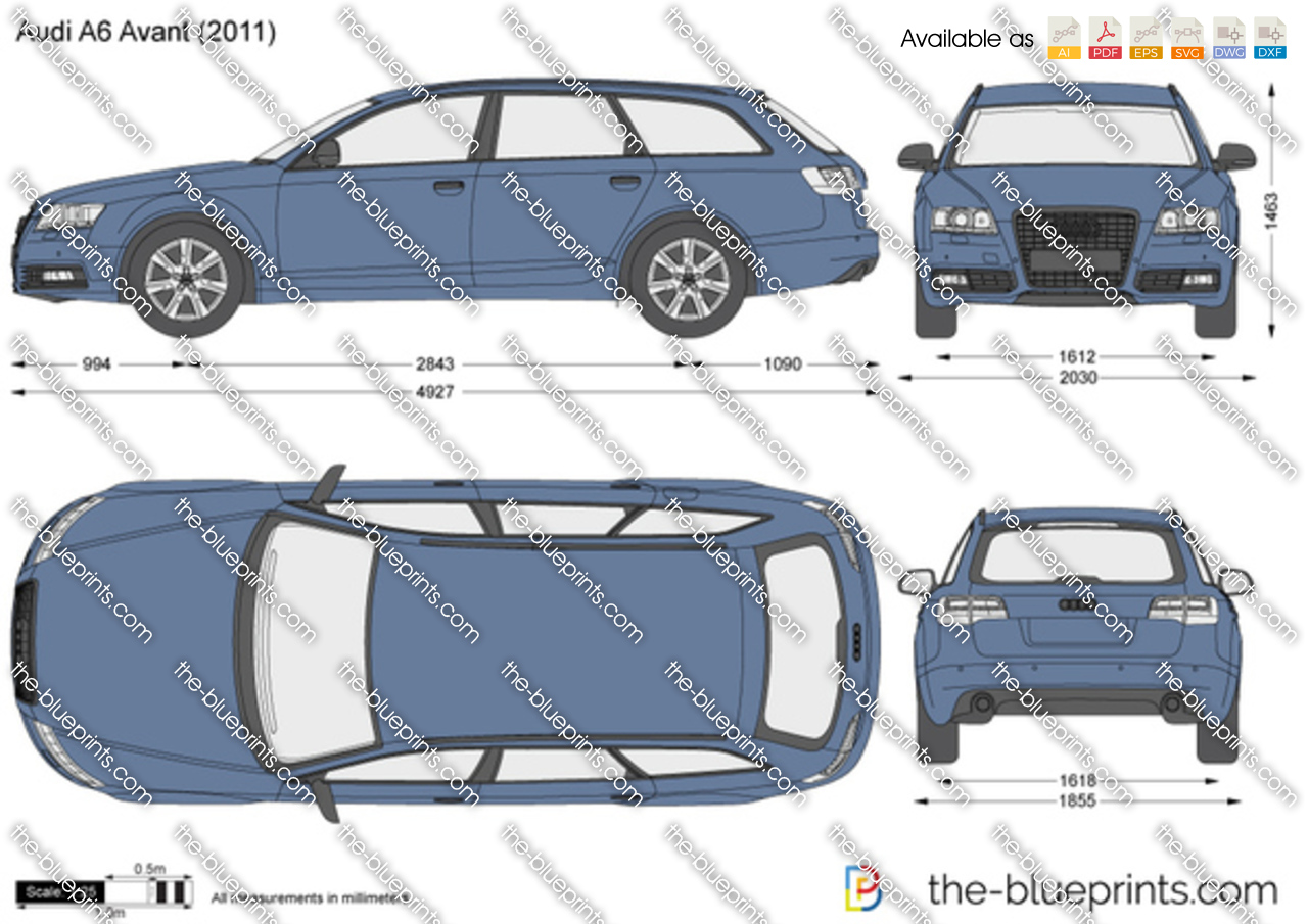 Audi a6 avant vector drawing for Lunghezza audi a6 avant 2016
