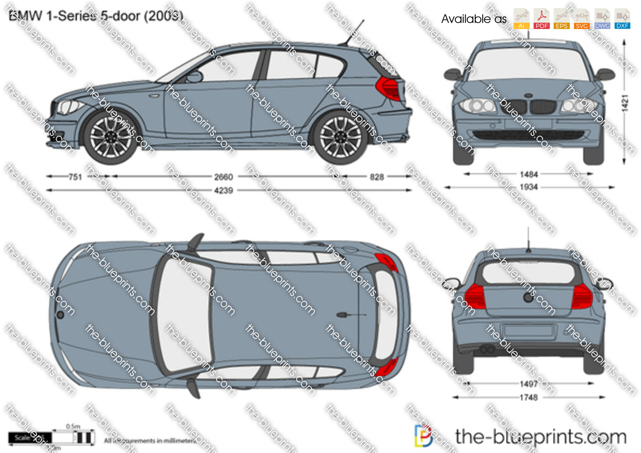Bmw 1 Series 5 Door E87 Vector Drawing
