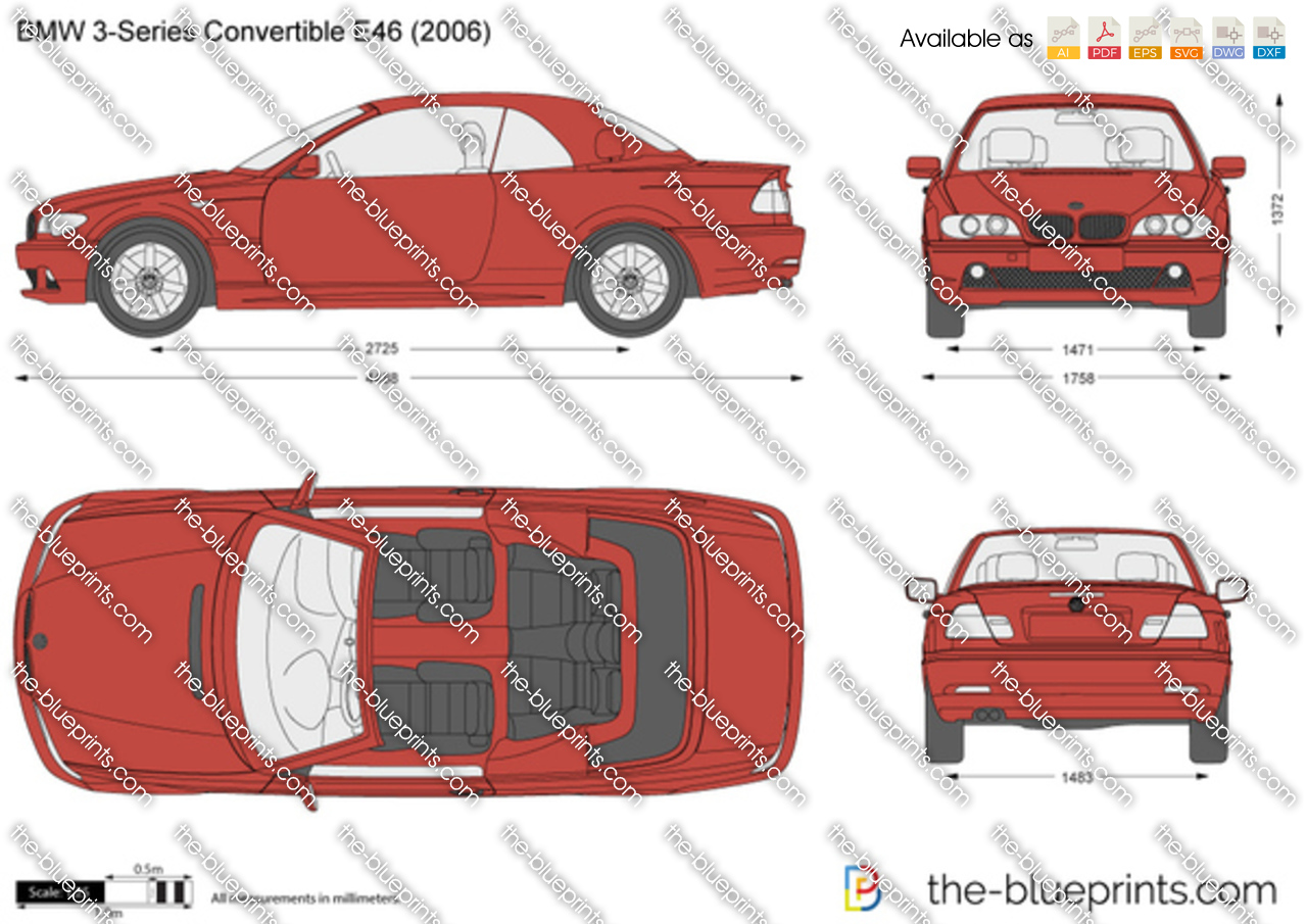 bmw 3 series convertible e46 vector drawing. Black Bedroom Furniture Sets. Home Design Ideas