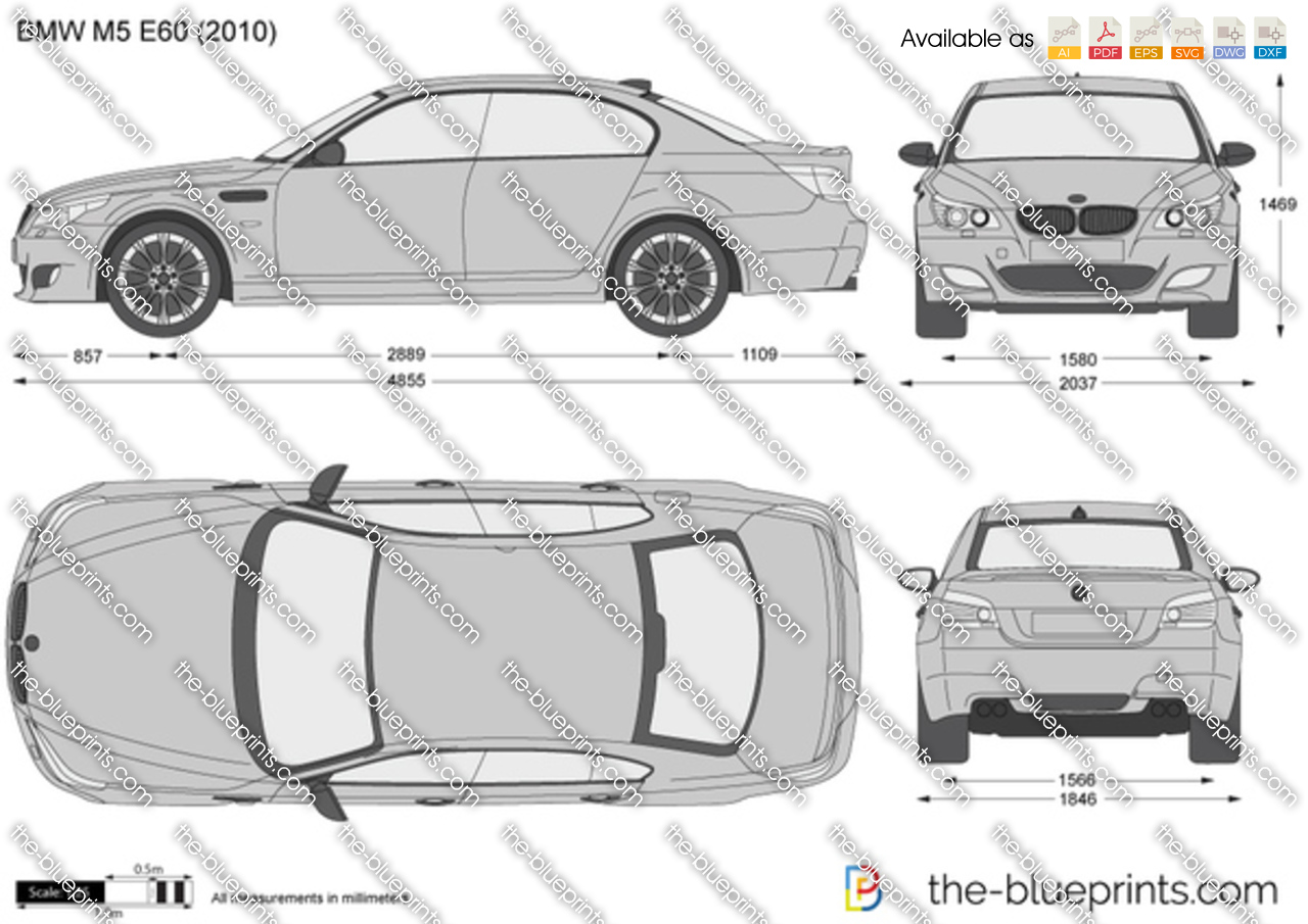 Bmw M5 E60 Vector Drawing