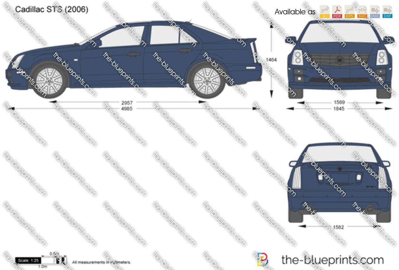 Cadillac STS vector drawing