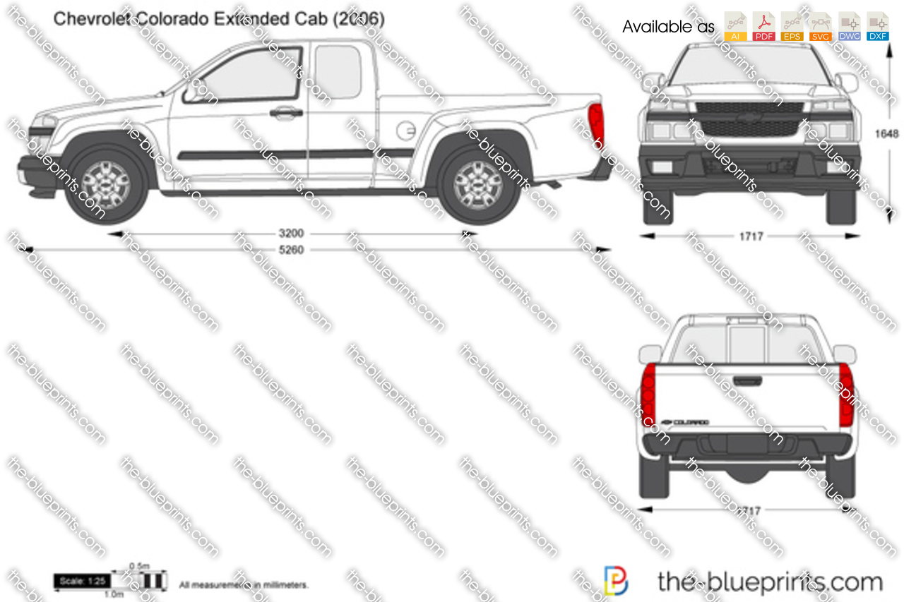 chevrolet colorado extended cab vector drawing