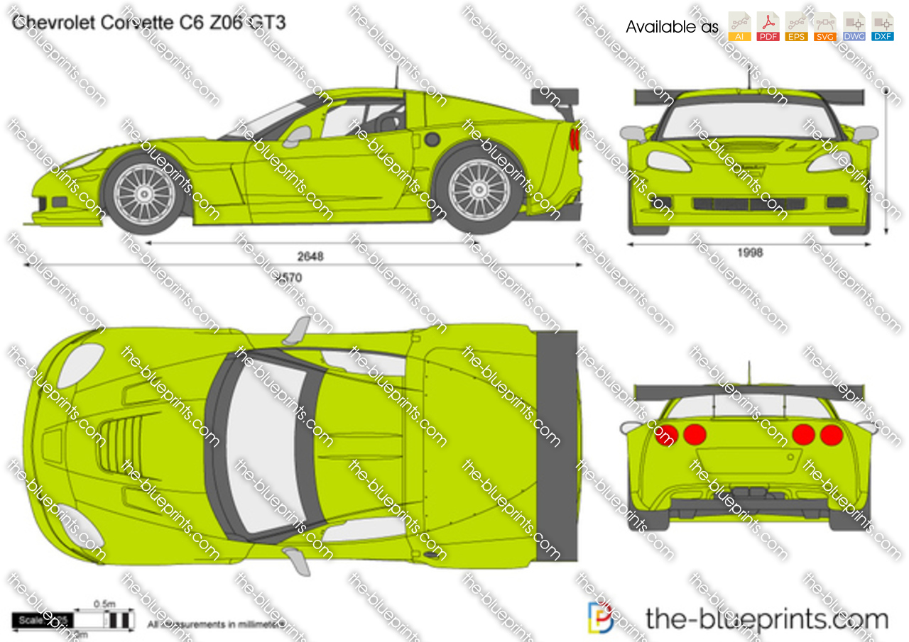 chevrolet corvette c6 z06 gt3 vector drawing