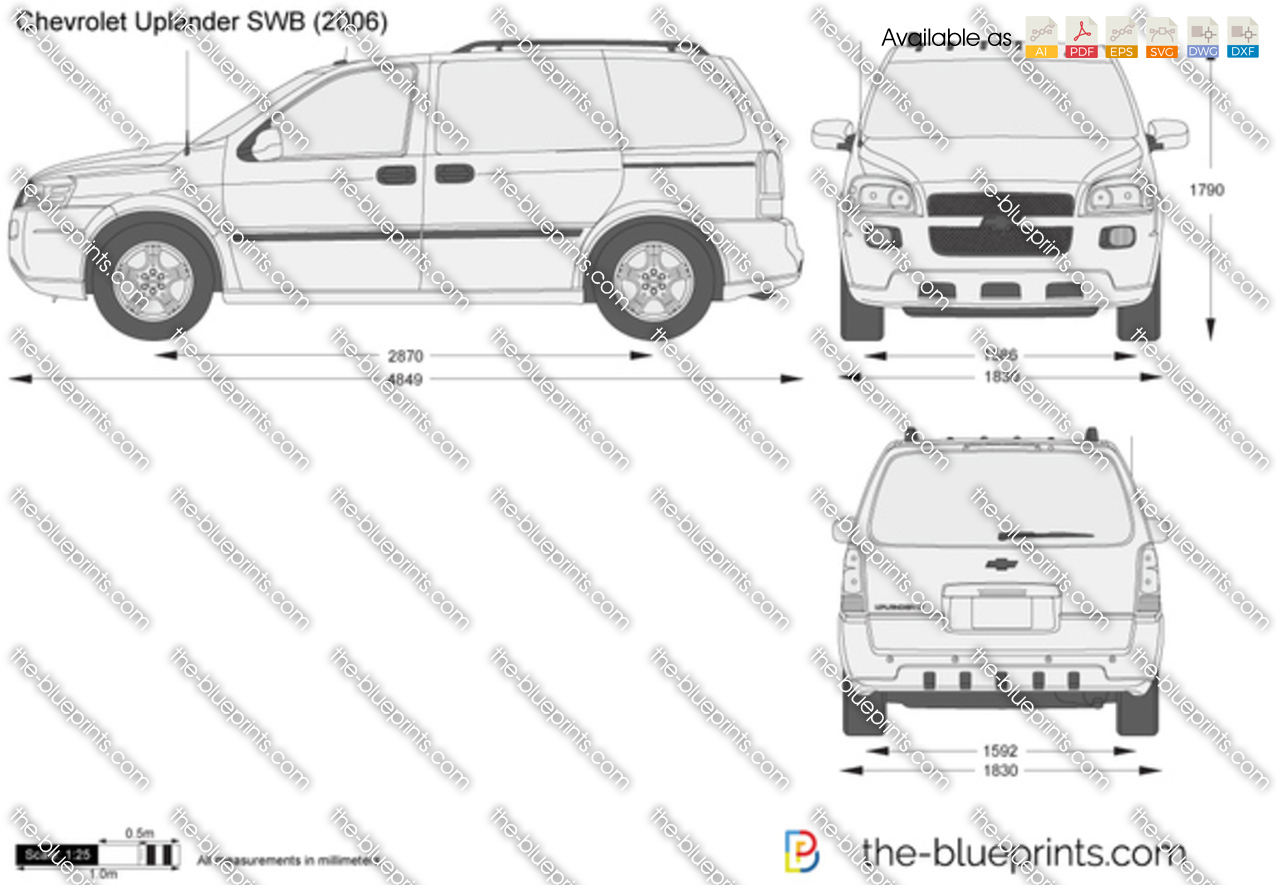 All Chevy 2000 chevy uplander : The-Blueprints.com - Vector Drawing - Chevrolet Uplander SWB