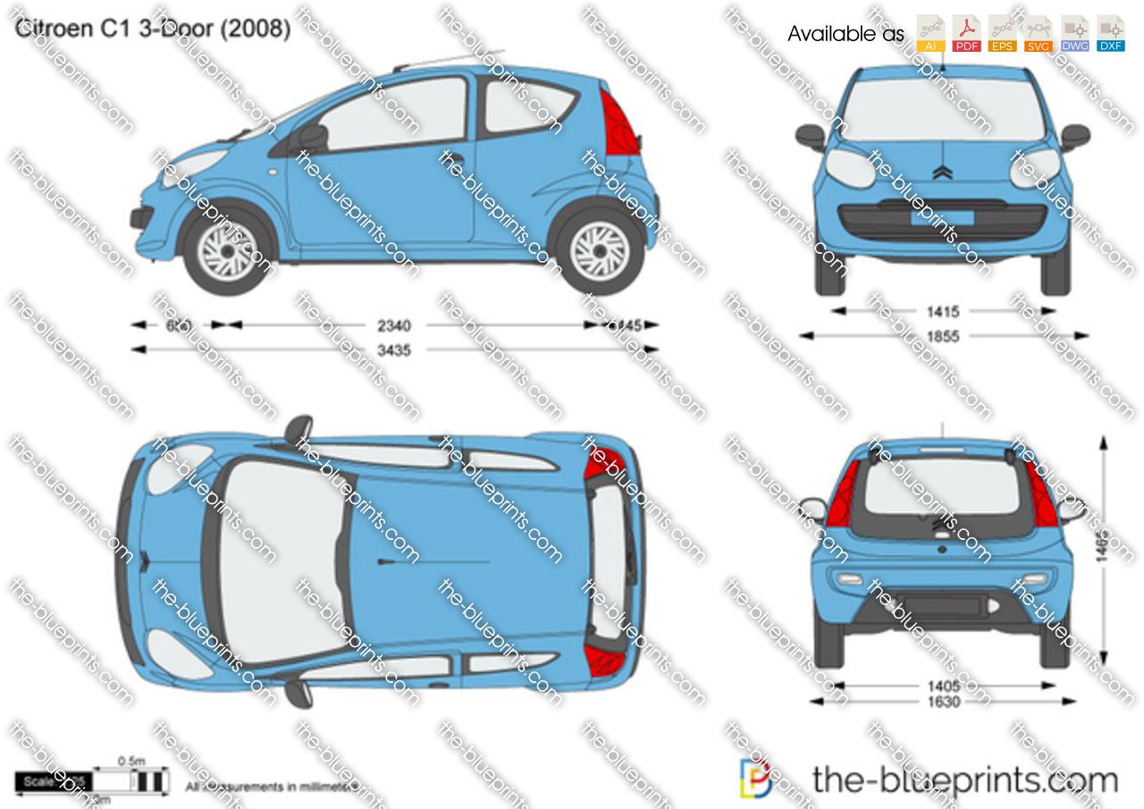 Fiat 500 Dimensions >> Citroen C1 3-Door vector drawing
