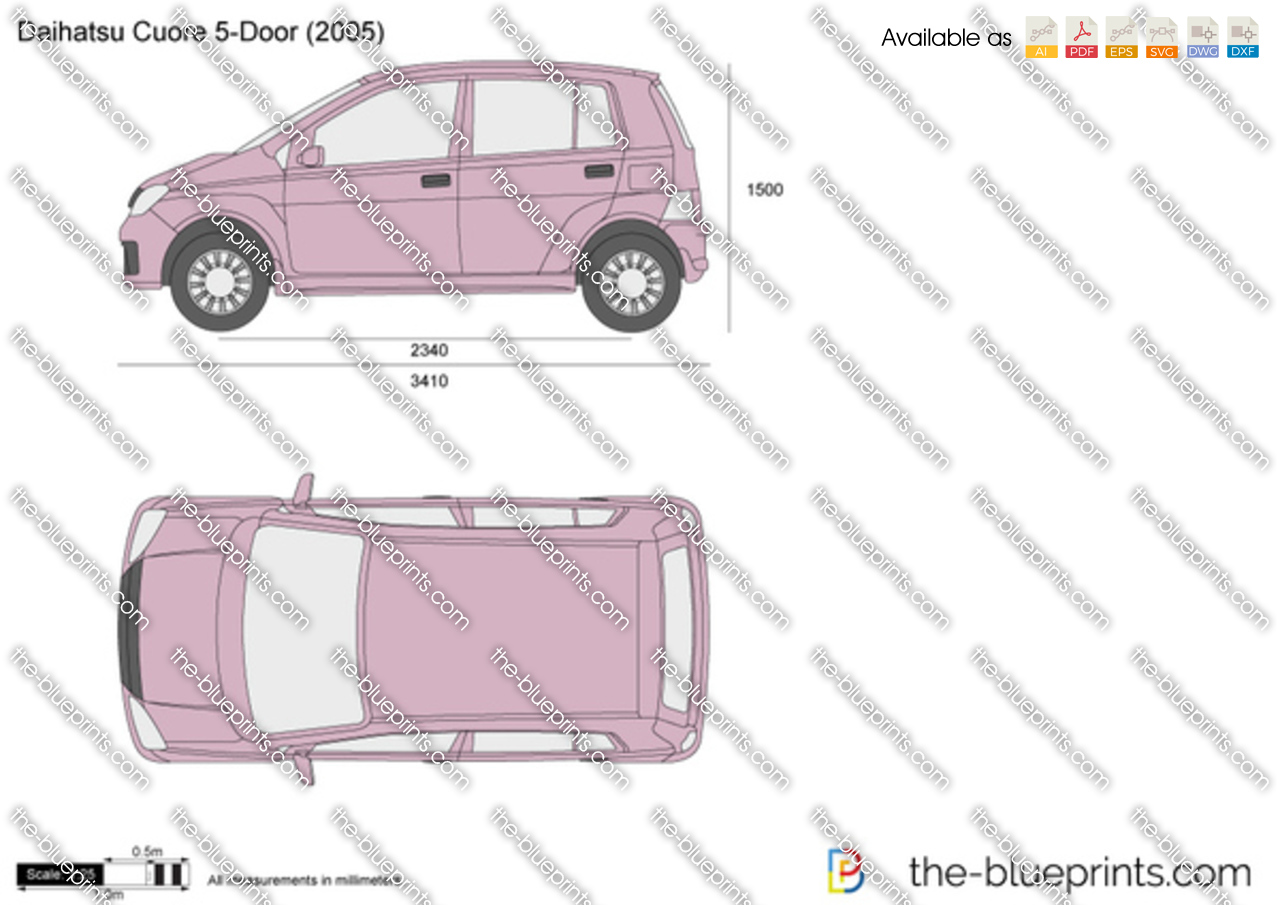 Daihatsu Cuore 5 Door Vector Drawing