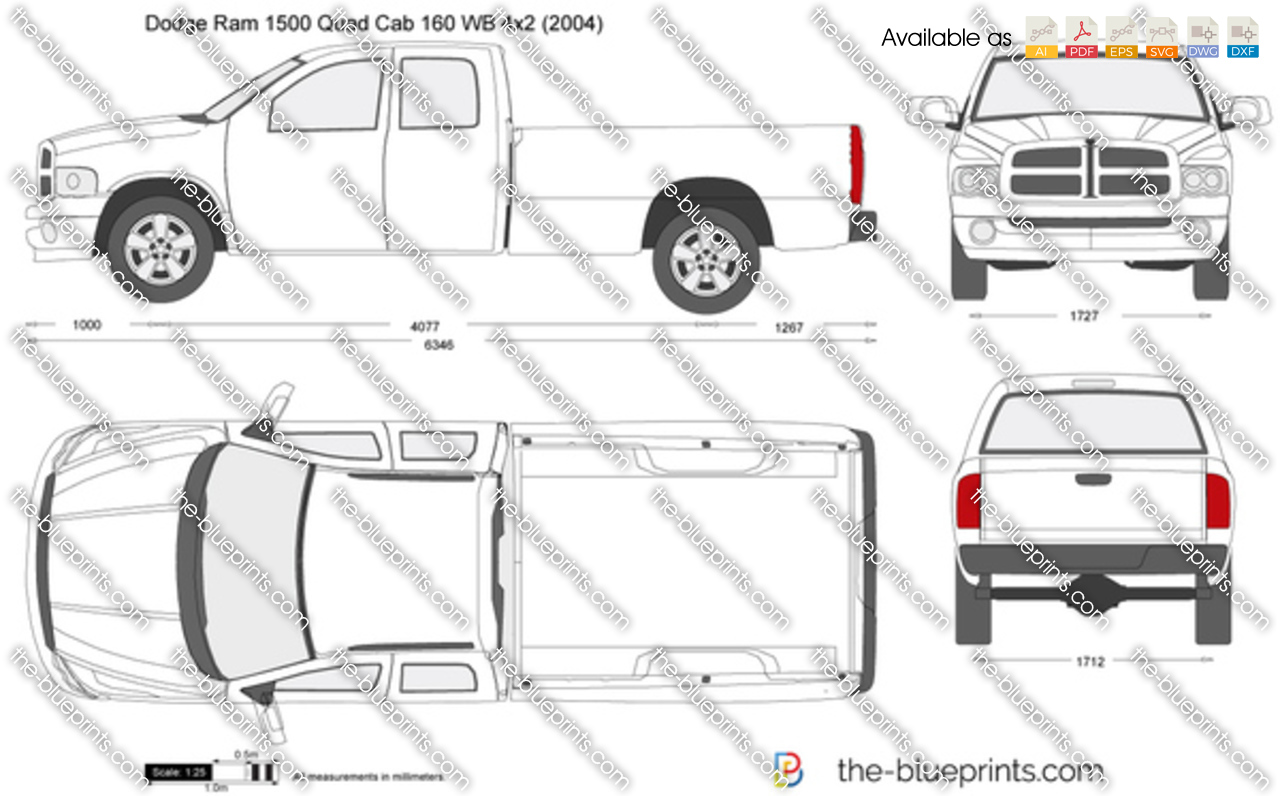 Dodge Ram 1500 Quad Cab 160 Wb 4x2 Vector Drawing