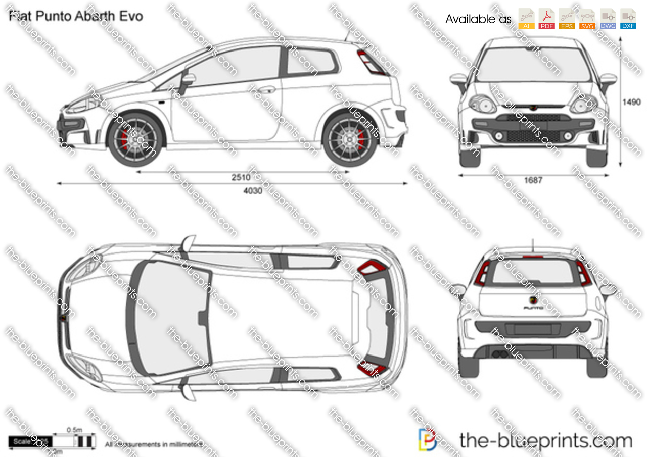 Fiat Grande Punto Abarth Vector Drawing