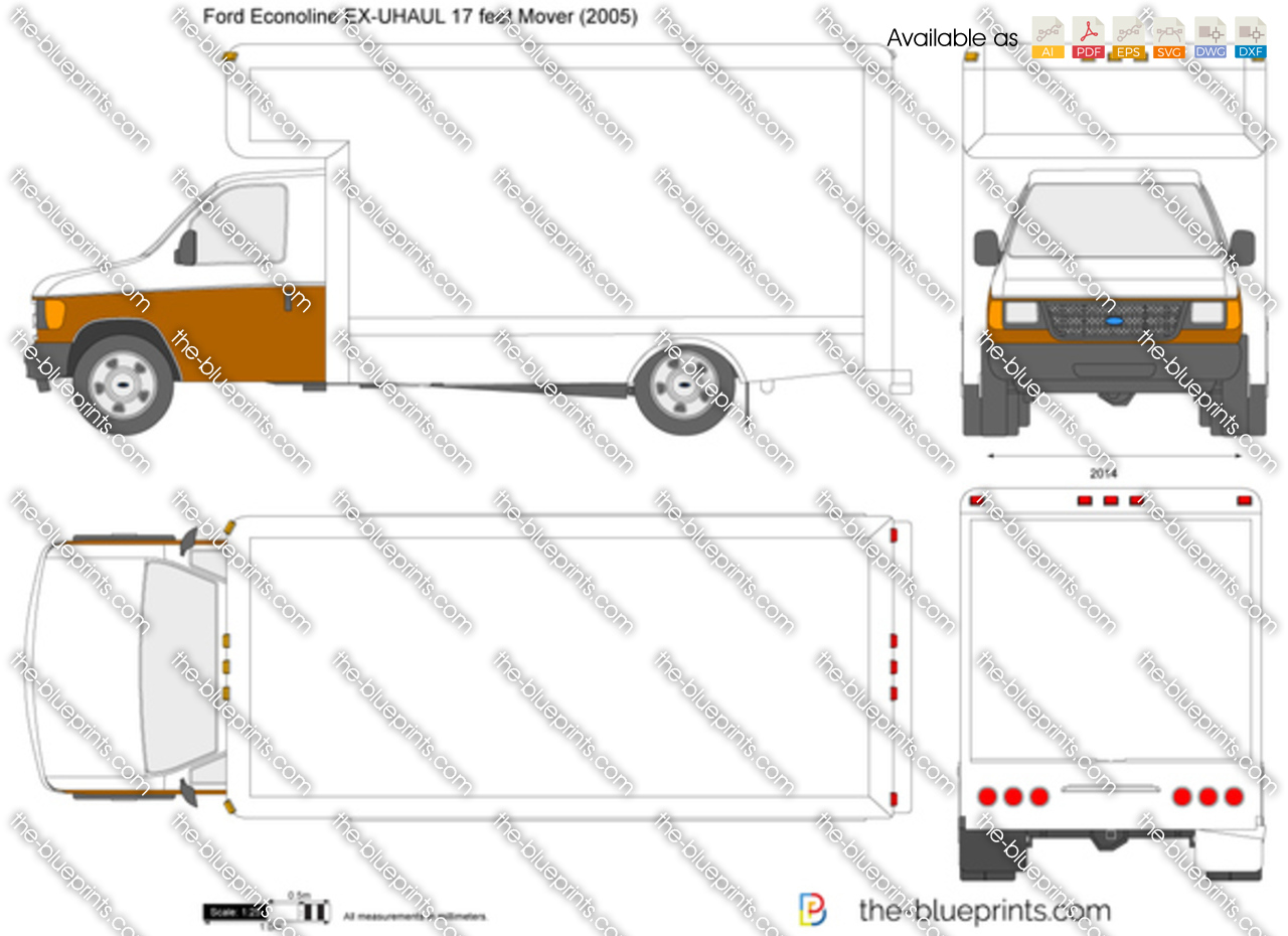 Ford Econoline EX-UHAUL 17 feet Mover vector drawing