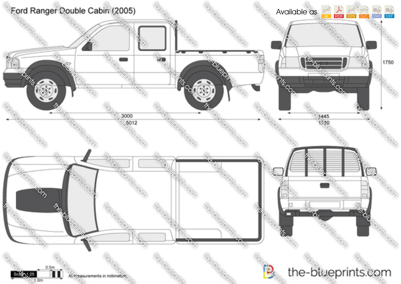 The Vector Drawing Ford Ranger Double Cabin