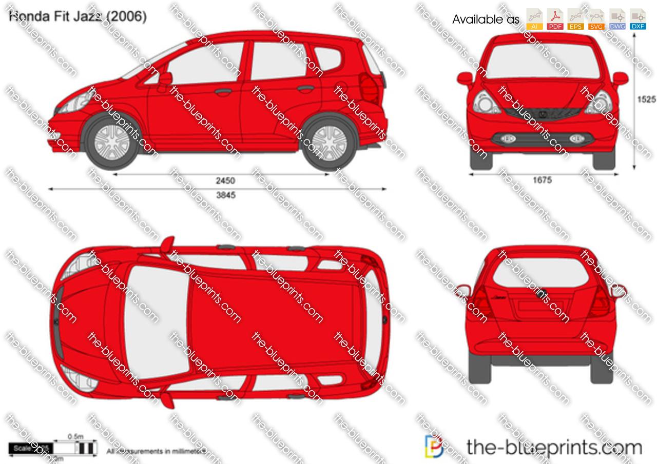Honda Fit Jazz Vector Drawing
